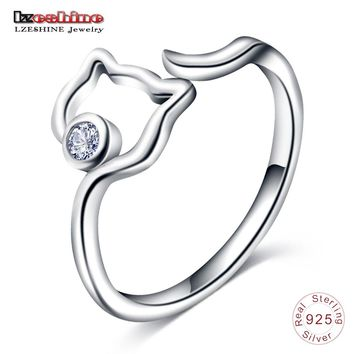 LZESHINE New 925 Sterling Silver Cute Cat Finger Rings For Women Silver Jewelry Adjustable Size Open Ring With Clear CZ anillo