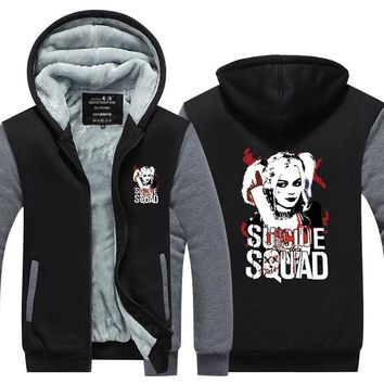 Suicide Squad Harley Quinn Joker Cosplay hoodies men Coat Hoodie Winter Fleece Thicken Jacket Sweatshirts Plus Size