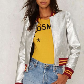 Nasty Gal Steel Your Heart Bomber Jacket - Silver