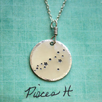 Pisces constellation sterling silver necklace, constellation necklace, pisces, zodiac, star necklace, astrology gift necklace, pisces gift