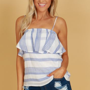 Ruffle Striped Tank Top Chambray