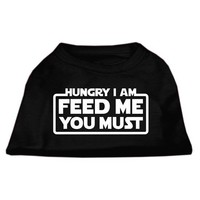 """Hungry I Am. Feed Me You Must"" Dog Shirt by Mirage (Black)"