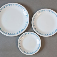 Corelle Livingware Dishes 12 Piece Blue Snowflake Dinnerware Set 4 Place Setting, Dinner Plate, Salad Plate, Bread Plate
