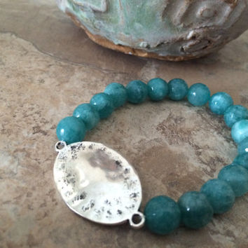 Teal Beaded Bracelet, Teal Bracelet, Stretch Bracelet