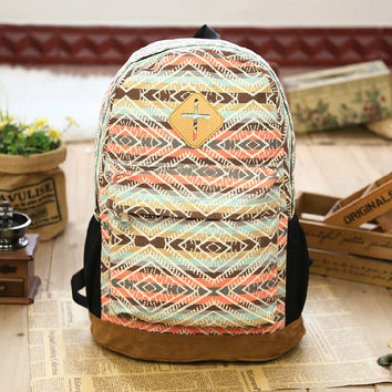 Canvas Backpack School Bag Etchnic Backpack Casual Daypack for Girls
