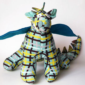 "Stuffed Animal Dragon Toy 10"" tall, 22"" wide in Teal, Lime Green, Brown, Aqua, Blue and White Flannel Fabric with Felt Wings, Baby Friendly"