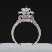 sale Luxury Women Engagement Jewelry 925 sterling Silver 5A ZC Crystal Zircon Female Wedding Finger Flower Rings