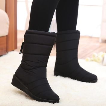 Fashion Women Boots Female Tassel Winter Ankle Boots Shoes Down Wedges Snow Boots Ladies Shoes Woman Warm