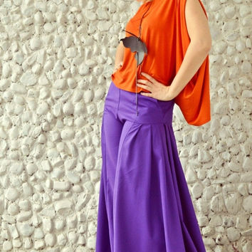 GREEN SALE 15% OFF Funky Flared Pants Tp19, Extravagant Large Purple Pants, High Waist Extra Large Pants, Plus Size Pants