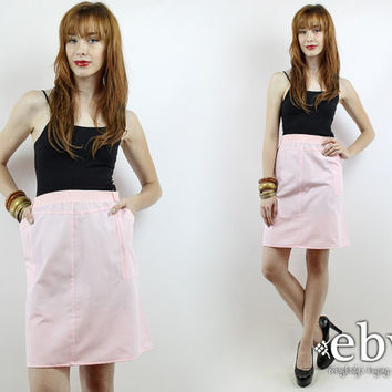 Vintage 80s High Waisted Pink Mini Skirt 1X 2X Summer Skirt High Waisted Skirt Pink Skirt High Waist Skirt Skater Skirt