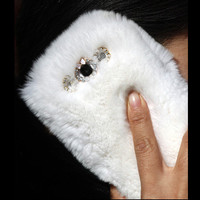 washable double sided fur phone case for Samsung Galaxy S3