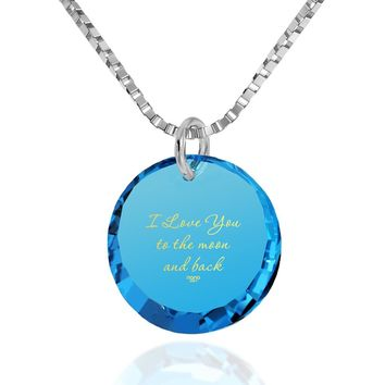 """I Love You to the Moon and Back"", 14k White Gold Necklace, Cubic Zirconia"