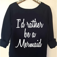 I'd Rather Be A Mermaid Sweatshirt - Off the Shoulder Sweatshirt  - Ruffles with Love -  Womens Clothing - RWL
