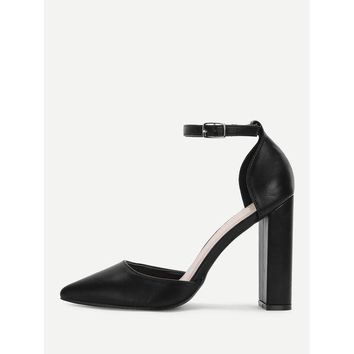 ONETOW Pointed Toe Ankle Strap Pumps