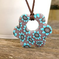 Turquoise Flower Pendant - Necklace