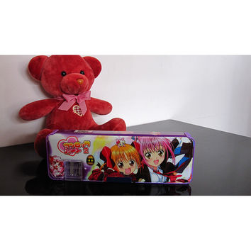 Cute cartoon student supplies Multifunction Two-sided pencil boxes pencil case   Purple girl