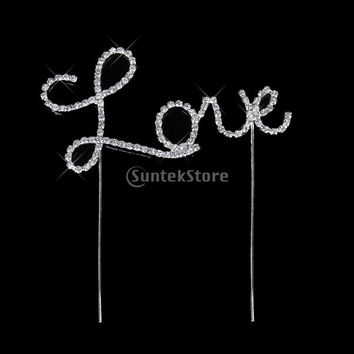 Crystal Rhinestone Letter Love Cake Topper Wedding Decoration = 1933013508