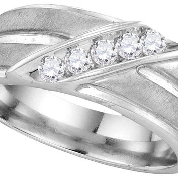 10kt White Gold Mens Round Diamond Diagonal Row Ridged Matte Wedding Band Ring 1/4 Cttw 110116