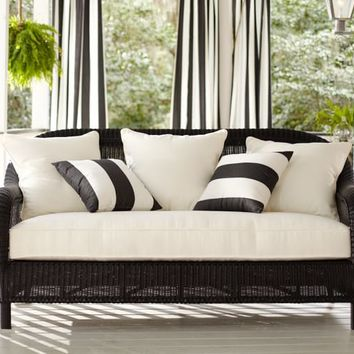 Palmetto All-Weather Wicker Sofa - Black