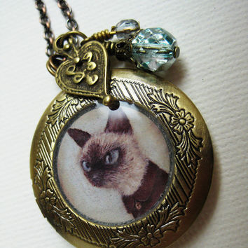 Cat Locket - Theo the Siamese art jewelry necklace, antique locket