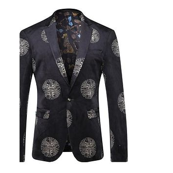 Velvet Blazer Men Slim Fit Men Floral Blazer Vintage Wedding Blazers Prom Dress Black Casual Suit