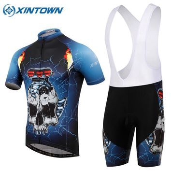 Skeleton Cycling Clothing/Quick-Dry Mtb Bike Jersey Set/Bicycle Cyle Clothes Wear Roupa Ciclismo Summer Cycling Sets 2017 Mens