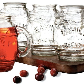 Circleware Family Glass Drinking Glasses Set 17.5 Ounce Set of 4 Beer Mug/Cup...