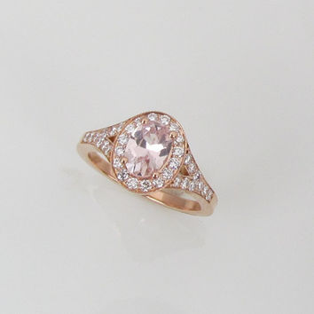 Pink Peach Champagne Sapphire 14k Rose Gold Split Shank Diamond Halo Gemstone Engagement Ring Weddings Anniversary