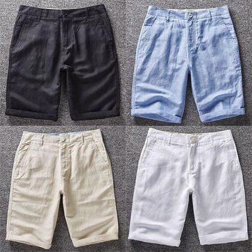 ONETOW breathable ultra thin solid loose beach bermuda men linen shorts white khaki brown navy blue