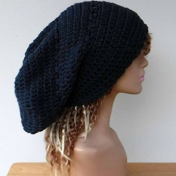6f3ad52ba11 Dark denim blue slouchy large Tam Dreadlock Hippie Beanie Dread