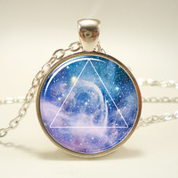 Galaxy Triangle Necklace, Hipster Nebula Jewelry, Geometric Star Pendant (1581S1IN)