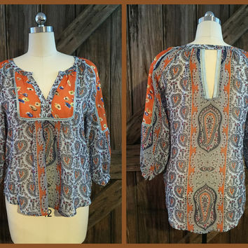 Breezy Boho Sheer Top Paisley Print Size Large -Love Fire-