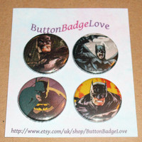 Batman Comic Badges (set 3) - Set of 4 handmade 1-inch pin-back button badges - geekery, fandom, JLA, Justice League, Arkham