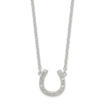 925 Sterling Silver Polished Cubic Zirconia Horseshoe with 1 inch Extension Necklace 16 Inch