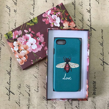 2017 Italy Luxury Fashion Famous Brand Leather phone case For Iphone 7Plus 7 6Plus 6S Lovely Red Snake bee Flowers phone case-004-05-Girllove100