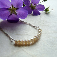 Tiny pearl necklace, pearl row necklace