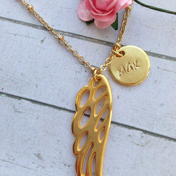 Personalized Angel's Wing Necklace. Gold Wing Necklace. Layered Angel Jewelry. Layered Jewelry