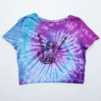 Tie Dye Skeleton Hand Crop Top Shirt Purple Blue Tye Dyed Tumblr Rave Crop Top Size S