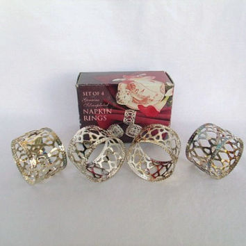 Napkin Rings Silver Plated Vintage Set of 4 In Box