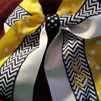 "Cheer Bow, Softball Bow - Navy Chevron, Yellow Dots Cheer or Softball Style Bow, 3"" Wide.  Perfect accessory for any fan."