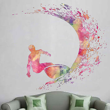 cik1879 Full Color Wall decal Watercolor Surfer wave surfing living room children's room