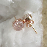 NEW Natural Druzy Rose Gold Studs Titanium Drusy Quartz Earrings Rose Gold Vermeil Bezel Set