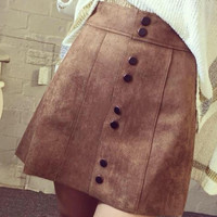 Brown High Waist Pencil Skirt