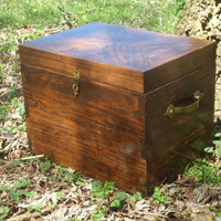 Reclaimed Wood Treasure Chest Box. Kona in Color, Design on Top, With Brass Hardware