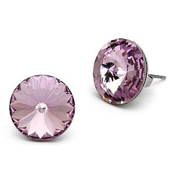 Women's Large Round Pink Crystal Stud Earrings Stainless Steel