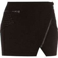 River Island Womens Black scuba biker mini skirt
