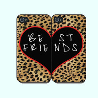 Best Friends --iphone 5 Case or iPhone 4  case  in pairs, with durable black or white plasic and silicone
