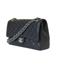 STORE-FRESH Chanel Black Quilted Caviar 'Jumbo' Double Flap Shoulder Bag