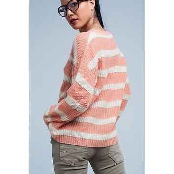 Pink Striped Mohair Sweater with Lurex