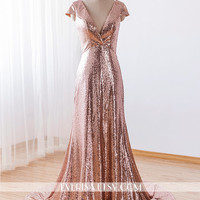 Custom-Made sexy v neck floor lenght long rose gold sequin bridesmaid dress formal evening dress prom dress